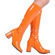 Orange lackstövlar blockklack 7,5 cm - 70 tal hippie boots disco gogo knähöga stövlar