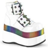 Patent 11,5 cm BEAR-104 demonia ankle boots platform white
