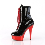 Patent 15,5 cm DELIGHT-1020 Red Chrome Platform Ankle Calf Boots