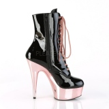 Patent 15,5 cm DELIGHT-1020 Rose Chrome Platform Ankle Calf Boots