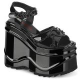 Patent 15 cm Demonia WAVE-09 lolita platform wedge sandals