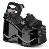Patent 15 cm Demonia WAVE-13 lolita platform wedge sandals