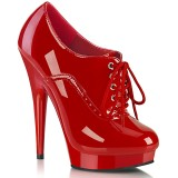 Patent 15 cm SULTRY-660 platform ankle booties high heels red
