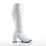 Patent 7,5 cm GOGO-300X knee high womens boots with wide calf