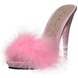 Pink 13 cm POISE-501F Maraboufjädrar Höga Slip in skor