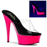 Pink 15 cm DELIGHT-601UV neon platå tofflor dam med klack