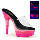 Pink 15 cm DELIGHT-601UVS neon platå tofflor dam med klack