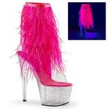 Pink 18 cm ADORE-1017MFF platå stövletter maraboufjädrar