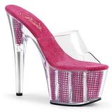 Pink 18 cm ADORE-701SRS Rhinestones platform mules womens