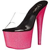 Pink 18 cm ADORE-701UVG neon platå tofflor dam med klack