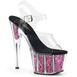 Pink 18 cm ADORE-708CG glitter platå high heels