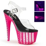 Pink 18 cm ADORE-708VLRS platå klackar skor med strass stenar