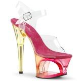 Pink 18 cm MOON-708MCT Akryl platå klackar skor