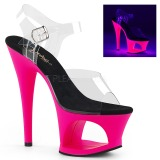 Pink 18 cm MOON-708UV Högklackade Sandaler Neon Platå