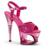Pink 18 cm MOON-710GT glittriga platå klackar skor