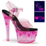 Pink 18 cm SKY-308UVMG Högklackade sandaler neon platå