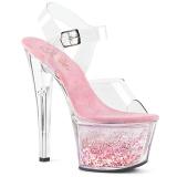 Pink 18 cm SKY-308WHG glitter platå high heels