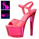 Pink 18 cm SKY-309UVT Neon platå sandaler med klack