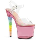 Pink 18 cm UNICORN-708T Akryl platå klackar skor