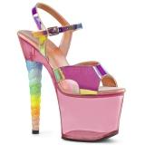 Pink 18 cm UNICORN-711T Akryl platå klackar skor