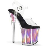 Pink 20 cm FLAMINGO-808HGI Hologram platå klackar skor