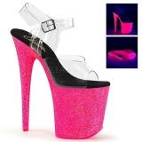 Pink 20 cm FLAMINGO-808UVG Neon Platå Högklackade Sandaler Skor
