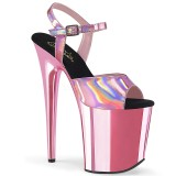 Pink 20 cm FLAMINGO-809HG pleaser höga klackar för kvinnor