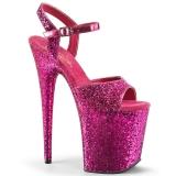 Pink 20 cm FLAMINGO-810LG glittriga platå klackar skor