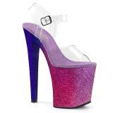 Pink 20 cm XTREME-808OMBRE glittriga platå klackar skor