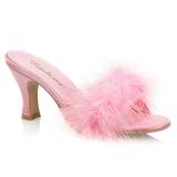 Pink 7,5 cm FLAPPER-01F Maraboufjädrar Höga Slip in skor
