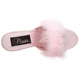 Pink 8 cm AMOUR-03 Maraboufjädrar Höga Slip in skor