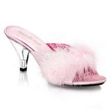 Pink 8 cm BELLE-301F Maraboufjädrar Höga Slip in skor