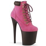 Pink Faux Suede 20 cm FLAMINGO-800TL pleaser ankle boots platform
