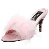 Pink Feathers 8 cm AMOUR-03 High Women Mules Shoes for Men