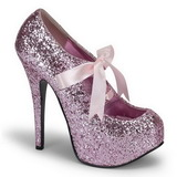 Pink Glitter 14,5 cm Burlesque TEEZE-10G Platform Pumps Shoes