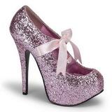 Pink Glitter 14,5 cm TEEZE-10G Platform Pumps Shoes