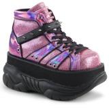 Pink Leatherette 7,5 cm NEPTUNE-100 Platform Mens Gothic Shoes