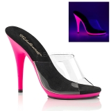 Pink Neon 13 cm POISE-501UV Platform Mules Shoes