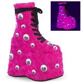 Pink Päls 18 cm SLAY-206 lolita stövletter platå