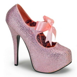 Pink Rhinestone 14,5 cm Burlesque TEEZE-04R Platform Pumps Women Shoes