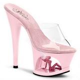 Pink Transparent 18 cm Pleaser MOON-701TG Platform High Mules