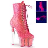 Pink glitter 18 cm ADORE-1020G dam stövletter med platåsula