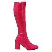 Pink lackstövlar blockklack 7,5 cm - 70 tal hippie boots disco gogo knähöga stövlar