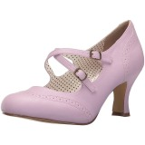 Purple 7,5 cm retro vintage FLAPPER-35 Pinup Pumps Shoes with Low Heels