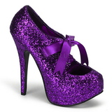 Purple Glitter 14,5 cm Burlesque TEEZE-10G Platform Pumps Shoes