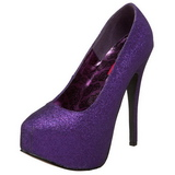 Purple Glitter 14,5 cm Burlesque TEEZE-31G Platform Pumps Shoes