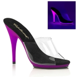 Purple Neon 13 cm POISE-501UV Platform Mules Shoes