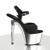 Quilted Leatherette 18 cm ADORE-709 Chrome Platform High Heel