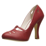 Red 10 cm SMITTEN-20 Pinup Pumps Shoes with Low Heels
