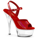 Red 15 cm Pleaser KISS-209BHG Platform High Heels Shoes
